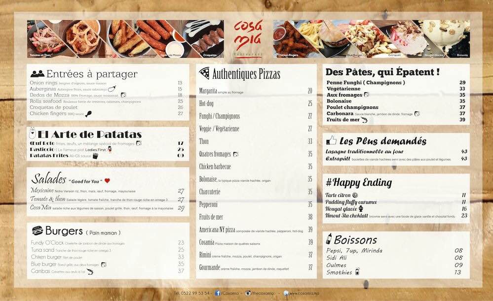 Cafe Costa Menu